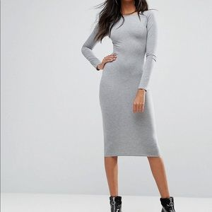 Boho Long Sleeve Gray Midi Dress Size 4